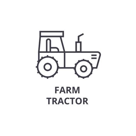 ファーム トラクター ライン アイコン、アウトライン記号、線形シンボル、フラットのベクトル図です。