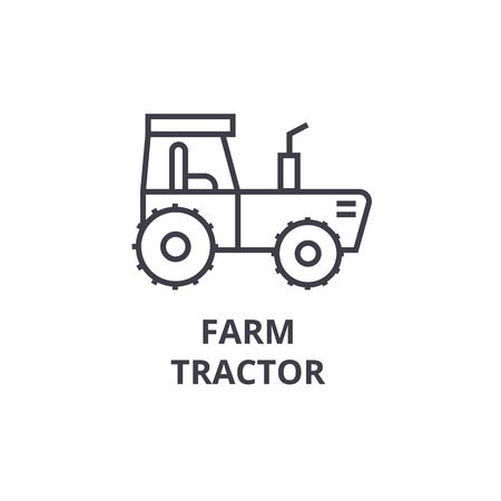 Farm tractor line icon, outline sign, linear symbol, flat vector illustration. Ilustração