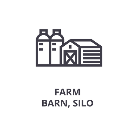 Farm, barn, silo line icon, outline sign, linear symbol, flat vector illustration. 向量圖像