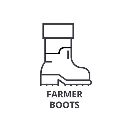 農家は、線のアイコン、アウトライン記号、線形シンボル、フラットのベクトル図を起動します。