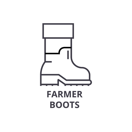 Farmer boots line icon, outline sign, linear symbol, flat vector illustration.