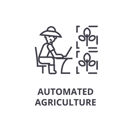 Automated agriculture line icon, outline sign, linear symbol, flat vector illustration. Ilustracja