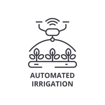 自動化された灌漑ライン アイコン、アウトライン記号、線形シンボル、フラットのベクトル図です。
