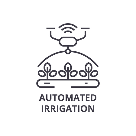 Automated irrigation line icon, outline sign, linear symbol, flat vector illustration.