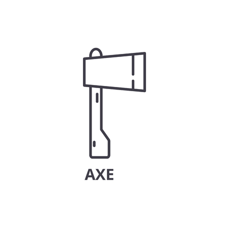 Axe line icon, outline sign, linear symbol, flat vector illustration.