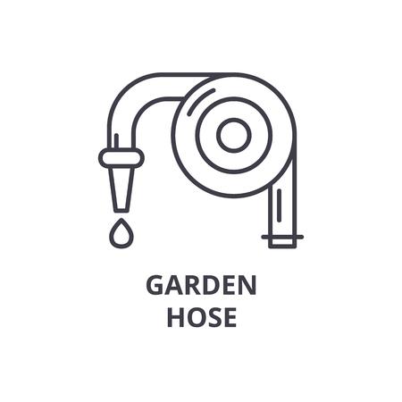 Garden hose line icon, outline sign, linear symbol, flat vector illustration.