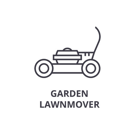 Garden lawn mover line icon, outline sign, linear symbol, flat vector illustration. Иллюстрация