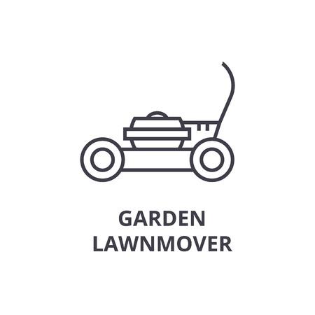 Garden lawn mover line icon, outline sign, linear symbol, flat vector illustration. Illustration