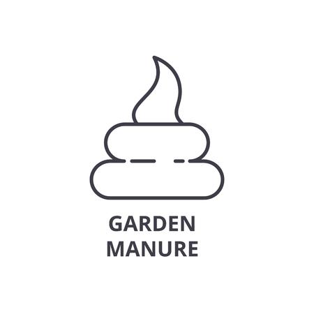 庭の堆肥ライン アイコン、アウトライン記号、線形シンボル、フラットのベクトル図  イラスト・ベクター素材