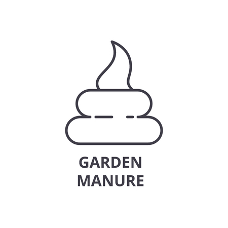 garden manure line icon, outline sign, linear symbol, flat vector illustration
