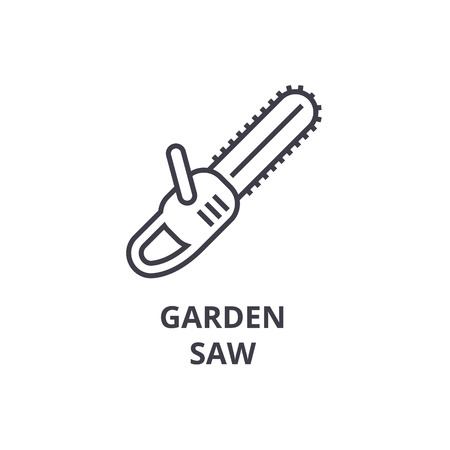 Garden saw line icon, outline sign, linear symbol, flat vector illustration.