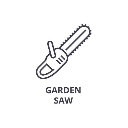 Garden saw line icon, outline sign, linear symbol, flat vector illustration.