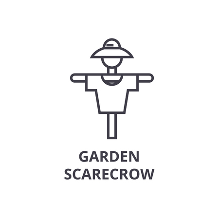Garden scarecrow line icon, outline sign, linear symbol, flat vector illustration. Ilustrace