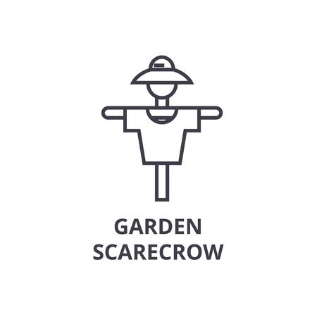 Garden scarecrow line icon, outline sign, linear symbol, flat vector illustration. Illustration