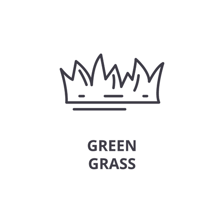 Green grass line icon, outline sign, linear symbol, flat vector illustration.