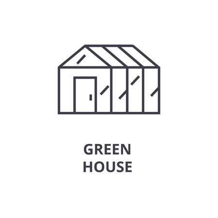 Green house line icon, outline sign, linear symbol, flat vector illustration.