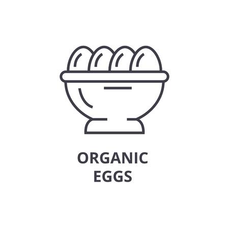 Organic eggs line icon illustration.