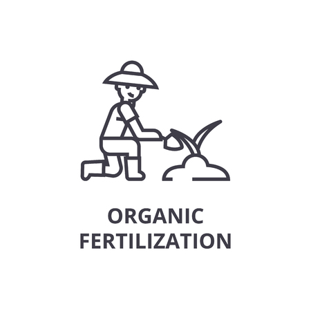 organic fertilization line icon, outline sign, linear symbol, flat vector illustration