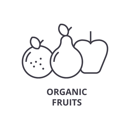 Organic fruits line icon, outline sign, linear symbol, flat vector illustration.