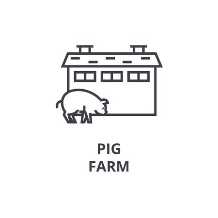 Pig farm line icon, outline sign, linear symbol, flat vector illustration. Illustration