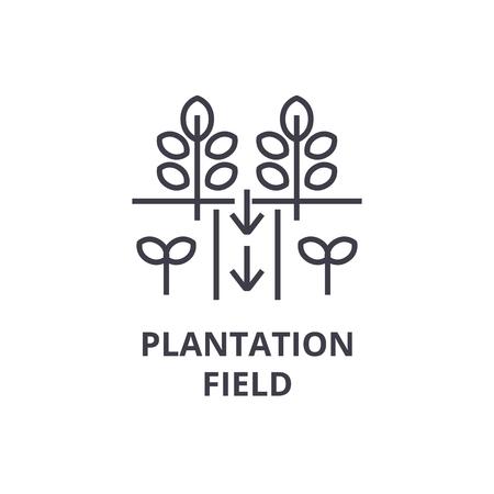 Plantation field line icon, outline sign, linear symbol, flat vector illustration.