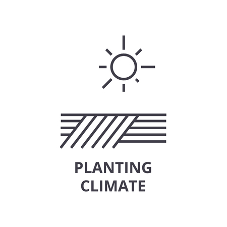 Planting climate line icon, outline sign, linear symbol, flat vector illustration. Banque d'images - 91056873