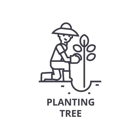 Planting tree line icon, outline sign, linear symbol, flat vector illustration.