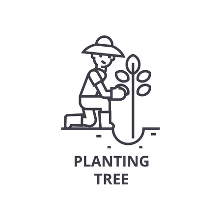 Planting tree line icon, outline sign, linear symbol, flat vector illustration.