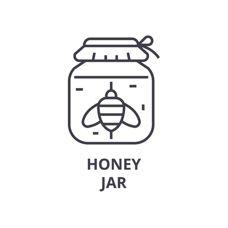 Honey jar line icon illustration.