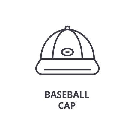 COne de linha de boné de beisebol, sinal de contorno, símbolo linear, ilustração vetorial plana Foto de archivo - 91098718