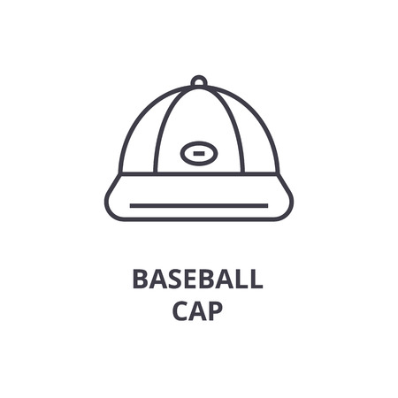 baseball cap line icon, outline sign, linear symbol, flat vector illustration