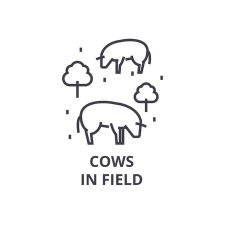 cows in field line icon, outline sign, linear symbol, flat vector illustration