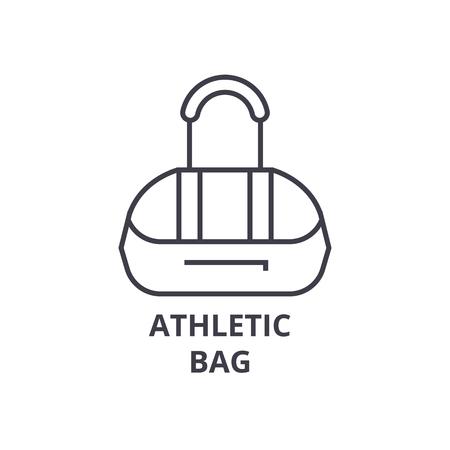 Sporttasche Linie Symbol, Umriss Zeichen, lineares Symbol, flache Vektor-Illustration Standard-Bild - 91098723
