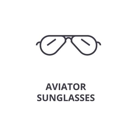 aviator sunglasses line icon, outline sign, linear symbol, flat vector illustration