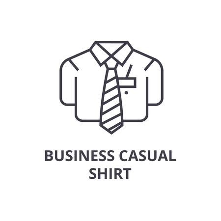 bsuiness casual shirt line icon, outline sign, linear symbol, flat vector illustration