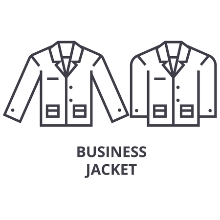 business jacket line icon, outline sign, linear symbol, flat vector illustration Banque d'images - 91098730