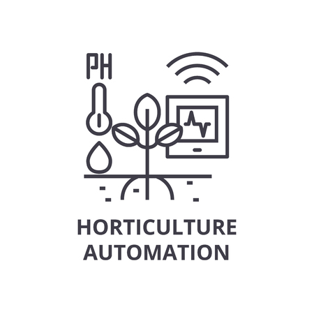 horticulture automation line icon, outline sign, linear symbol, flat vector illustration