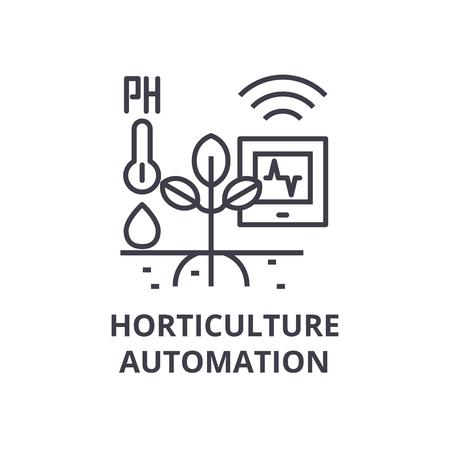 tuinbouw automatisering lijn pictogram, overzichtsteken, lineair symbool, platte vectorillustratie