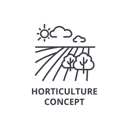 horticulture concept line icon, outline sign, linear symbol, flat vector illustration