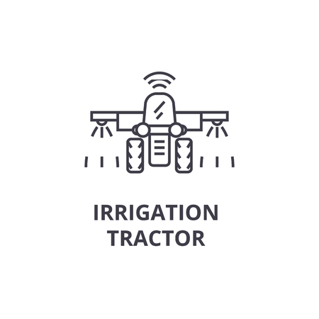 irrigatie trekker lijn pictogram, overzichtsteken, lineair symbool, platte vectorillustratie