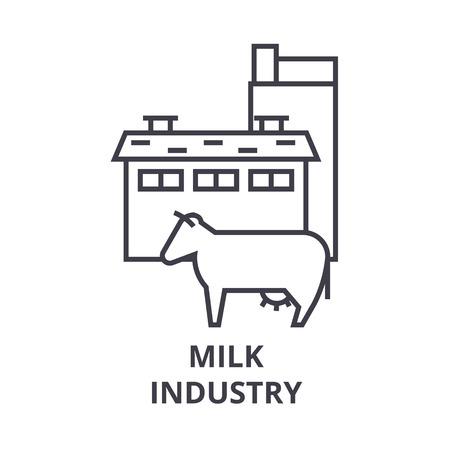 milk industry line icon, outline sign, linear symbol, flat vector illustration Illusztráció