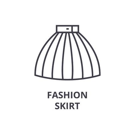fashion skirt line icon, outline sign, linear symbol, flat vector illustration