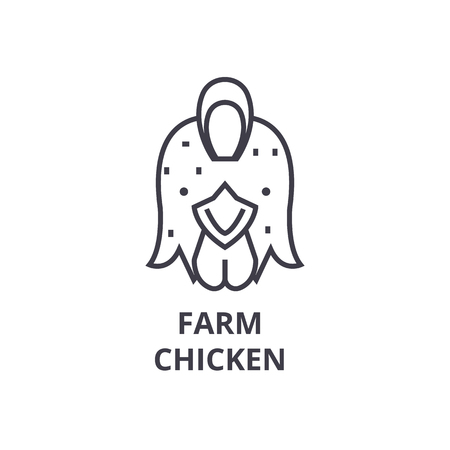 farm chicken, hen line icon, outline sign, linear symbol, flat vector illustration