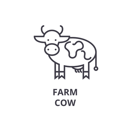 Cow line icon illustration. Çizim