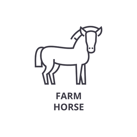farm horse line icon, outline sign, linear symbol, flat vector illustration