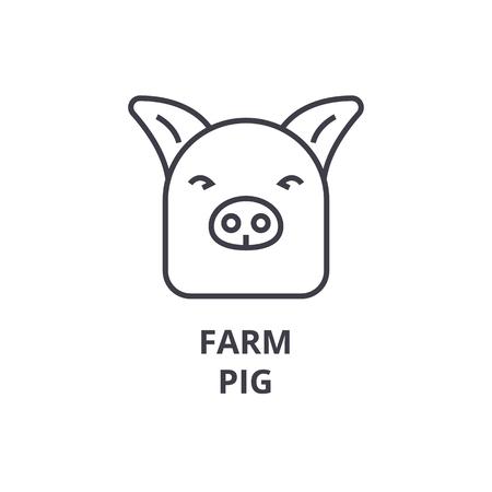 farm pig line icon, outline sign, linear symbol, flat vector illustration