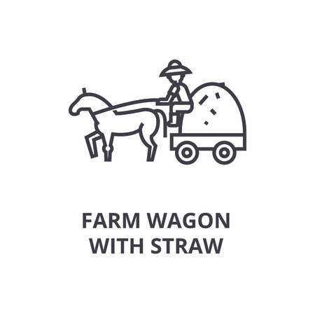 Vagão de fazenda com ícone de linha de palha, sinal de contorno, símbolo linear, ilustração vetorial plana Foto de archivo - 91101589