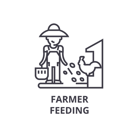 farmer feeding line icon, outline sign, linear symbol, flat vector illustration