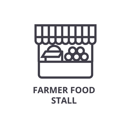 farmer food stall line icon, outline sign, linear symbol, flat vector illustration Stock Vector - 91095805