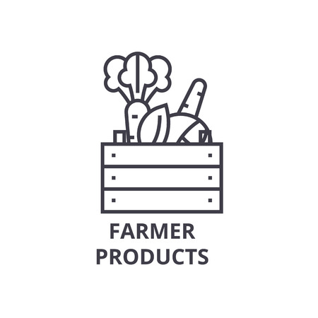 farmer products line icon, outline sign, linear symbol, flat vector illustration